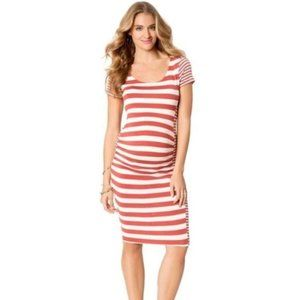 Jessica Simpson Maternity Dress Orange Striped F97